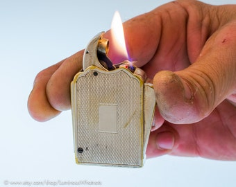 Working 1930s Quercia Racer Silverplate French Luxury Pocket Lighter - Mouchon