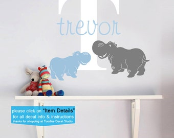 Hippo Wall Decals, Charlie Hippo Wall Decal, Boys Name Decals, Hippo Sticker, Nursery Decals, Kids Vinyl Sticker, Boys Initial Name Decal