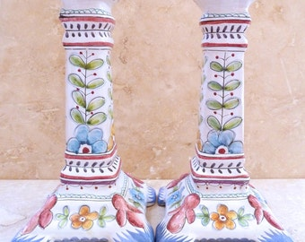 Vintage Hand Painted Tall Portugese Candlestick Holders