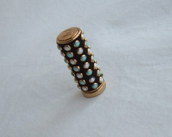 "RARE GORGEOUS Vintage ""Full Dress"" bejeweled lipstick tube and lipstick by  1930s French Designer Lucien Lelong"