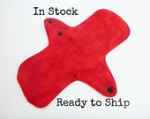10 inch cloth pad - cloth menstrual pad - medium or light flow pad - plus size cloth pad - dark red flannel top - in stock ready to ship