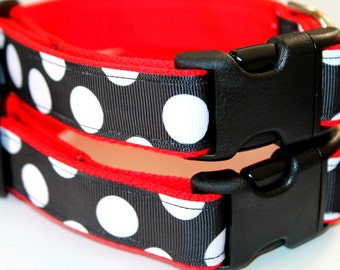 "Black and White Dog Collar and Leash Set 1"" wide Red Dog Collar Red  Leash Large Dog Collar Leash and Collar Set Small Dog Collar"