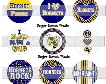 INSTANT DOWNLOAD Navy Blue Yellow Gold Hornets School Mascot 1 inch circle  Bottle cap Digital 4x6 sheet