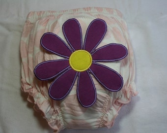Upcycled Potty Training Learning Pants Pink White with Purple Flower  size 2 - 4