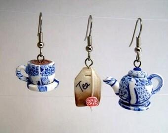 Handmade Polymer Clay Teapot , teabag and teacup  Earrings