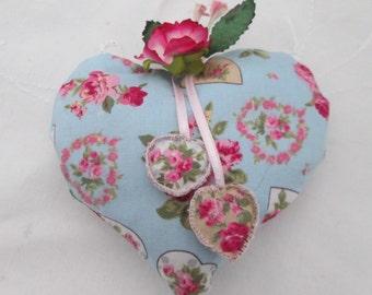 Lavender heart blue rose fabric heart paper flowers