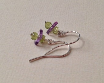 Tiny Peridot and Amethyst Earrings in Sterling Silver -Green and Purple Gem Earrings in Silver