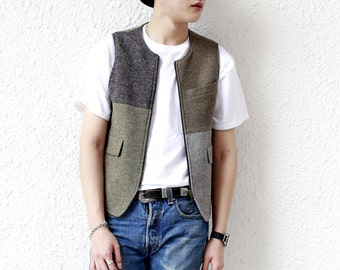 Remade Vintage Harris Tweed Vest