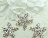 Moving Sale 50% SALE Second Quality Crystal Clear Rhinestone STARFISH Gold Metal Buttons Embellishments For Hair Bow Centers Beach Wedding 3