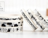 Black & White 9mm Wide Slim Tape - Japanese Washi Masking Tape - 7.6 yard - 13 designs for choice