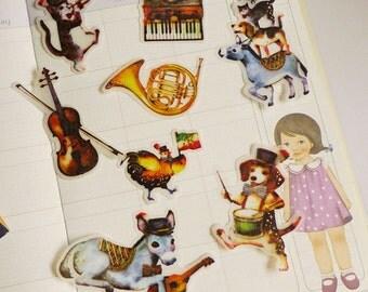 Animal Band - Waterproof Transfer Paper Flake Sticker Set - Poste Lippee - 8 Designs - 32 Pcs
