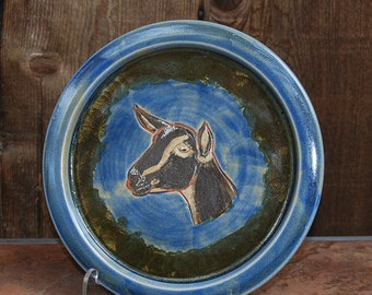 Handmade Stoneware Plate with Dairy Doe Portrait