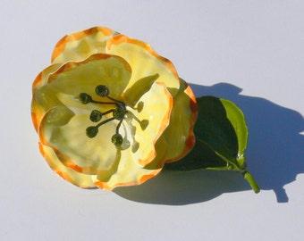 yellow flower enamel brooch