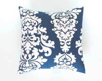 CLEARANCE 50% OFF Navy Blue Berlin Floral Pillow Cover. Decorative Pillow. 18X18 Inches. Flowery Throw Pillow Cover.