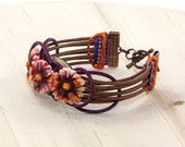 Daisy Wicker Cuff Bracelet Handmade by Jinglebirds
