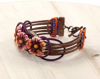 Daisy Wicker Cuff Bracelet Handmade by Jinglebirds