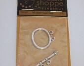 DESTASH  Two Strand Toggle Clasps, Silver Tone Toggle Clasp, Jewelry Supplies,  New 1 Toggle Clasp, CKDesigns.US