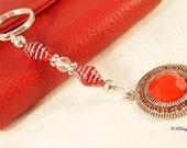 SALE Red Charm Keychain,  Beaded Keyring, Gift for Her, Bag Charm, Czech Beaded Key Chain, OOAK Handmade Keychain. CKDesigns.US