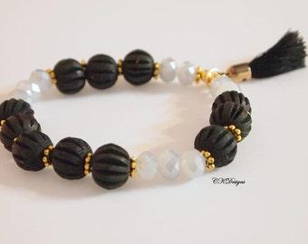 Black Tassel Beaded Bracelet, Stackable Bracelet,  Tassel Beaded Stretchy Bracelet. Gift for Her, OOAK Handmade Bracelet.