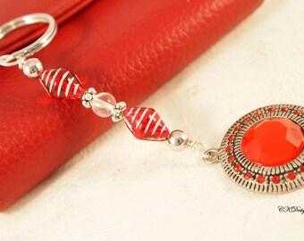 Red Charm Keychain,  Beaded Keyring, Gift for Her, Bag Charm, Czech Beaded Key Chain, OOAK Handmade Keychain. CKDesigns.US