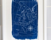 Shipping Forecast Map 'Typographical' A4 Hand coated traditionally made cyanotype