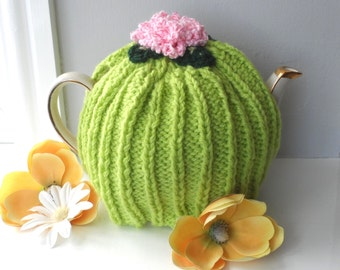 Hand Knitted Lime Green 4/6 Cup Tea Cosy Cozie with Pink Flower - Chunky Wool