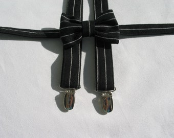 Black and White Stripe Bow Tie and Suspenders, Little Boy Clothing, Toddler Wedding Bow Tie, Ring Bearer Black with White Stripe Braces