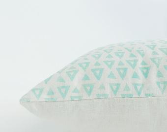 SEEKER hand printed cushion / pillow cover in Mint on hemp/organic cotton