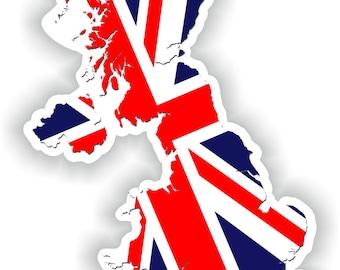 UK GB United Kingdom Map Flag Silhouette Sticker for Laptop Book Fridge Guitar Motorcycle Helmet ToolBox Door PC Boat