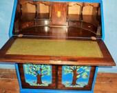 Bespoke vintage writing bureau desk with original artwork.