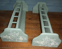 Pair of wooden shelves with hand painted roses