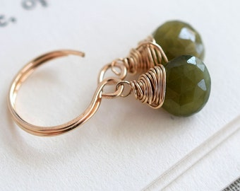 Grossular Garnet Earrings, Gold Earrings, Natural Green Garnet Earrings, Moss Green Earrings, Green Gemstone Earrings, Green and Gold