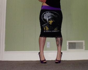 Mortal Kombat X - Scorpion - Black Pencil Skirt