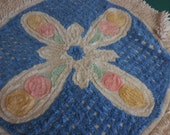 Vintage Round Chenille RUG and Lid Cover - Vintage Blue and White  Rug and Lid Cover with Pink and Yellow Lollipop Flowers and Green Leaves