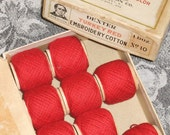Dexter Turkey Red Embroidery Cotton Thread, Spools & Vintage Box