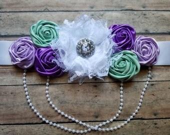 Maternity sash in purple and sea green bridal sash