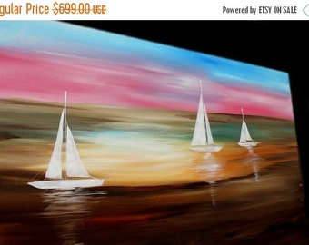 "Sale Abstract painting,Original comtemporary Art,Sailing Away Ready to hang 60"" X 30""  by Nicolette Vaughan Horner"