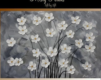 """Sale Original 36"""" gallery canvas Abstract painting,Original contemporary Art,Florals,""""Misty Petals"""" Grays,whites by Nicolette Vaughan Horner"""