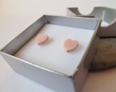 Ceramic Pottery Small Stud Heart Earrings, Valentine's Day, Romantic Jewellery, Valentine's Gift, Colour Options Pink, Red, Black
