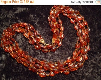 Now On Sale Vintage Amber Beaded Necklace Long 3 Strand Flapper Lucite Jewelry 1960 1970 Mad Men Mod Retro Rockabilly Glamour Girl