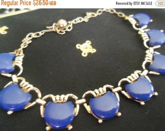 NOW ON SALE Vintage Blue Lucite 1950's Necklace Collectible Jewelry Mad Men Mod Rockabilly Accessories