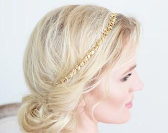 Gold Leaf Headband Tie on Head Jewelry Bridal Wedding Accessories Prom Special Occasion Minimalistic