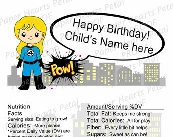 Personalized Fantastic Four - Invisible Woman - Girl Hero - Shower/Birthday Candy Bar Wrapper,  Pack of 25 printed wrappers with foil
