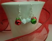Jingle Bells - multi colored cluster jingle bell earrings in white, green and red. Also available in clip on style