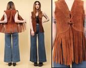 60s 70s Vtg Rust Orange Fringe SUEDE Leather Hippie Vest CORSET Lace Up Crop Top / Western Yolk Boho Sleeveless Mod Rocker Biker Xs Sm