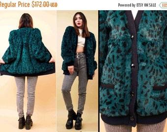 24HR FLASH SALE 70s 80s Vtg Spotted Teal Genuine Rabbit Fur Cardigan Jacket / Heavy Sweater Stroller Coat '77 Punk Grunge Gem Faceted Button