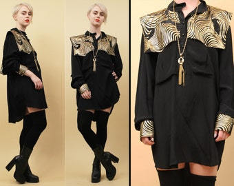 80s 90s Vtg Black + Gold Lamé Oversized Blouse Mini Dress / Boxy Psychedelic METALLIC Glam Back Cape Utilitarian Tunic / OSFM