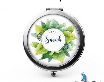 Personalized Compact Mirror Lovely Leaves Floral Wreath Bridesmaid Gifts Cosmetic Mirror Custom Favors - The Sarah