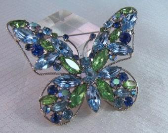 Verified D & E, Juliana Blue and Green Rhinestone Butterfly Brooch