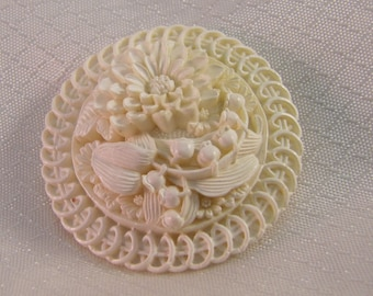 Vintage Carved Celluloid Dahlia and Lily-of-the-Valley Brooch